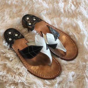 Jack Rodgers Black White Leaf Sandals